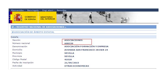 Registro de Asociaciones del Ministerio del Interior