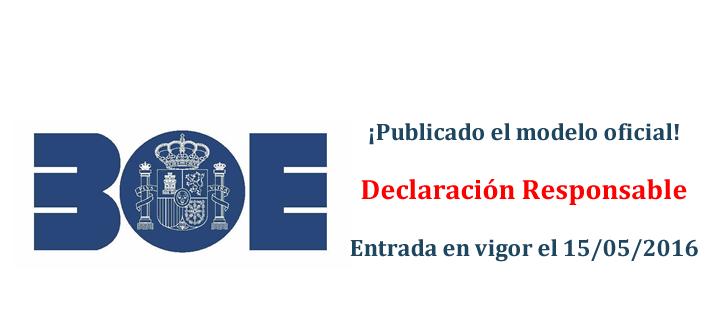 Orden ESS/723/2016 Modelo de Declaración Responsable Formación Programada