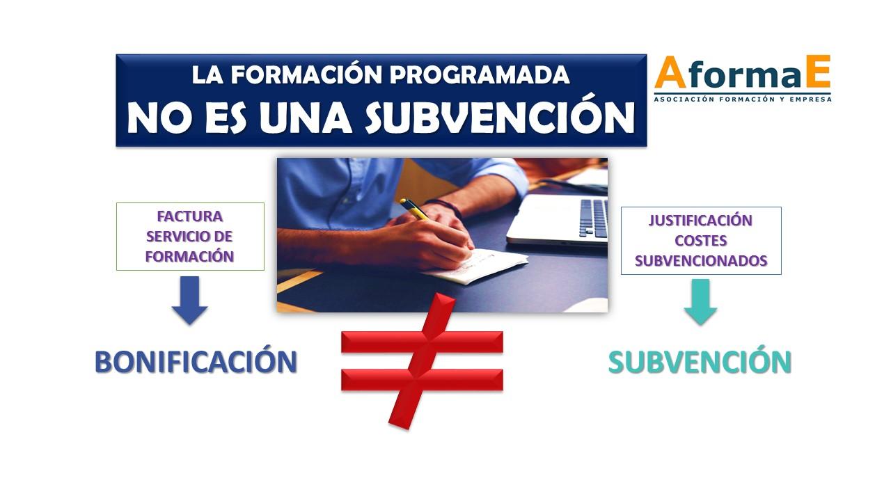 Formacion programada no es subvencion
